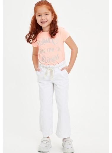 DeFacto Kız Çocuk Baskılı Kısa Kollu Tişört Pembe